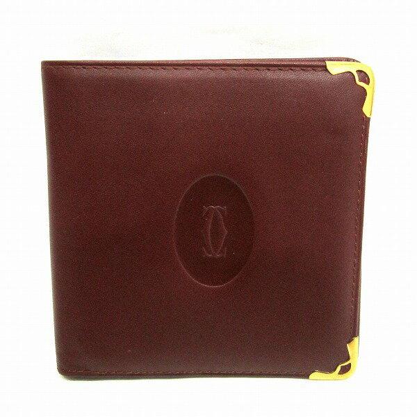 カルティエ Cartier マスト 2つ折り財布 ボルドー ★送料無料★【中古】【あす楽】