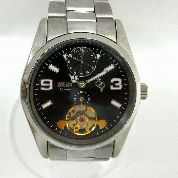 MUSK ムスク スモールセコンド&テンプスケルトン MT2076 自動巻き ブラック 腕時計 メンズ ★送料無料★【中古】【あす楽】