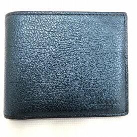 コーチ COACH 札入れ メタリックブルー 財布 二つ折り財布 ユニセックス ★送料無料★【中古】【あす楽】