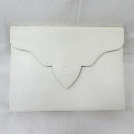 イヴサンローラン レザー ホワイト バッグ クラッチバッグ ユニセックス ★送料無料★【中古】【あす楽】