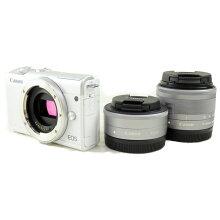 【中古】【EOSM200ダブルレンズキット】CANON(キヤノン)デジタル一眼カメラ【商品ランク】☆☆☆☆☆/中古優良品/大切に使用されていた商品。使用感の少ない中古品です。【中古保証書付き】【64】