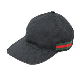 【美品】 GUCCI(グッチ) ベースボールキャップ GGキャンバス 20035 ・202291 ブラック×グリーン×レッド、ブラック 【服飾雑貨】【帽子】【中古】【Aランク】【63】