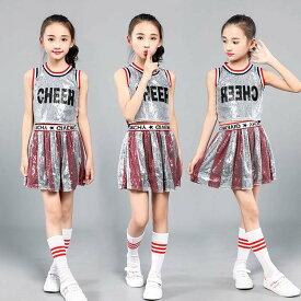 子供 女の子 ダンス衣装 ダンスウェア チアガール衣装 チア チアリーダー 衣装 女の子 キッズ 子供 スパンコール チアダンス ダンスウェア 応援衣装 ダンス衣装 ステージ衣装