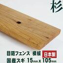 【目隠しフェンス】【木製】【日本製】国産杉 横板 2950mm×15mm×105mm