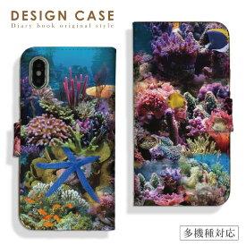 【送料無料 】 全機種対応 iPhone11ProMax iPhoneXS iPhoneXR対応 手帳型 スマホケース Xperia8 5 AQUOS sense3 zero2 Galaxy Note10 A20 Google Pixel4 水族館 海中 魚 熱帯魚 色鮮やか 華やか お洒落 便利 な book 型