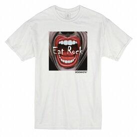 Tシャツ DESENHISTA™ デゼニスタ ホワイト 大人 デザイン ユニセックス メンズ レディース ビッグシルエット 半袖 ゆったり ホラー スプラッター サイコ ロック リップ かっこいい