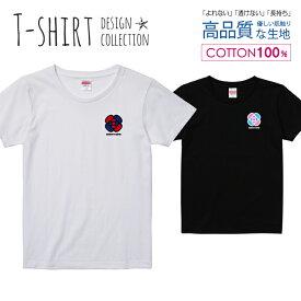 リボンクロス 花 カメリア ネイビー/レッド ワンポイント Tシャツ レディース ガールズ サイズ S M L 半袖 綿 100% よれない 透けない 長持ち プリントtシャツ コットン 人気 5.6オンス ハイクオリティー 白Tシャツ 黒Tシャツ ホワイト ブラック