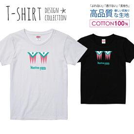 ネイティブ フェイス シンプルデザイン ブルー/ピンク Tシャツ レディース ガールズ サイズ S M L 半袖 綿 100% よれない 透けない 長持ち プリントtシャツ コットン 人気 5.6オンス ハイクオリティー 白Tシャツ 黒Tシャツ ホワイト ブラック