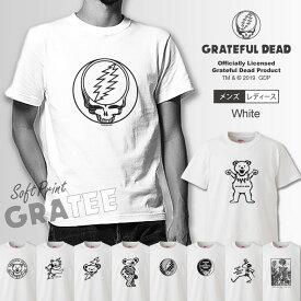GRATEFUL DEAD グレイトフル・デッド Tシャツ メンズ サイズ S M L LL XL 半袖 綿100% ロックバンド グレイトフルデッド デッドベアー スカル クマ ロゴ バンドT ロックT プリント コットン ホワイト 白色 ゆったり 5.6オンス ハイクオリティー 男性サイズ