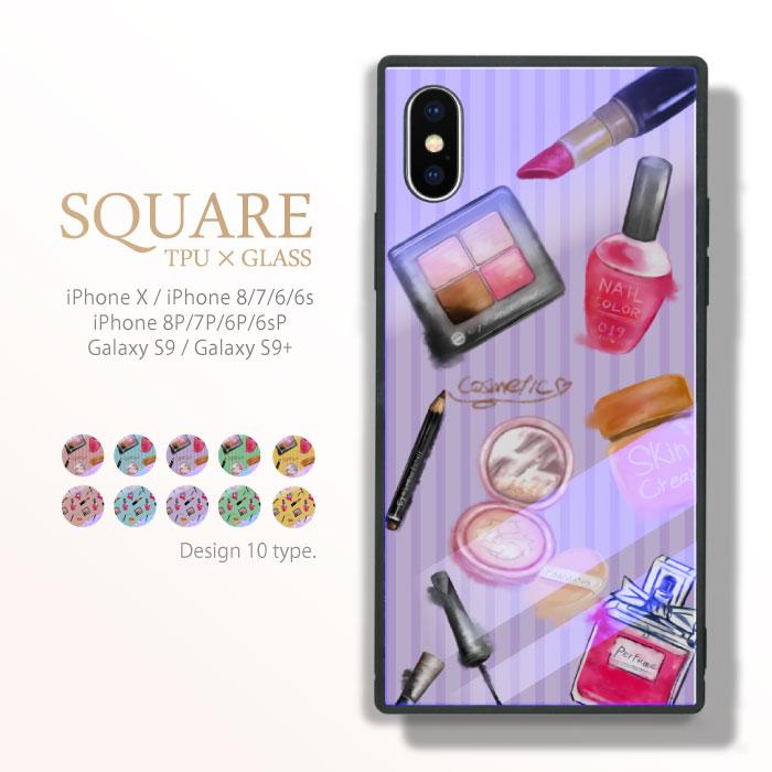 スクエア型 四角 耐衝撃 背面ガラス 強化ガラス iPhone ケース TPU ハードケース アイシャドウ 化粧品 コスメ iphone8 ケース Galaxy s9 ケース iPhone x ケース iPhone7 iPhone6s 流行 トレンド 海外 セレブ シャドウ パレット