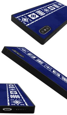 【送料無料】スクエア型四角耐衝撃強化ガラスiPhoneケースTPUハードケースネイティブ柄オルテガ柄iphone8ケースGalaxys9galaxys9plusケースiPhonexケースiPhone7iPhone6s流行トレンド海外セレブ西海岸エスニック夏サマー
