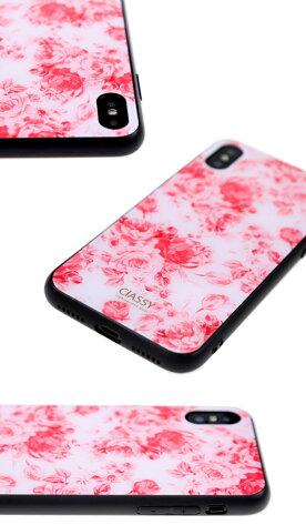 2019年新作スマホケーススリムガラス耐衝撃強化ガラスiPhoneケースTPUハードケース光沢カラー花柄ボタニカルフラワー可愛い総柄大人iphone8ケースiPhonexケースiPhone7流行トレンドClASSYsophisticatedglass