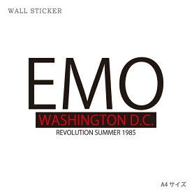 ウォールステッカー オリジナル ウォールペーパー クリア ウォール ステッカー おしゃれ パーティー DIY A4 サイズ 送料無料 EMO WSHINGTON D.C エモ EMO テキスト 文字
