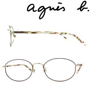 agnes b. メガネフレーム アニエスベー レディース ライトゴールド×ピンクベージュ メガネフレーム 眼鏡 AB-50-0069-02 ブランド
