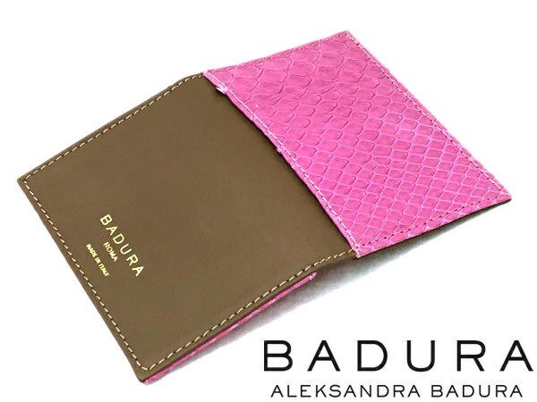 名刺入れ カードケース BADURA バドゥーラ ココア(茶色)×ピンク カーフ×パイソン 高級レザー 本革 BA-CC-COCOA-PINK ブランド 男性用 女性用 イタリア製