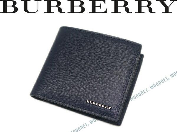 BURBERRY 2つ折り財布 バーバリー レザー ネイビー 小銭入れあり 3997620-NAVY ブランド/メンズ/男性用