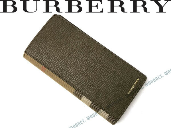 BURBERRY バーバリー 長財布 型押しレザー セイジグリーン×チェック柄 4056479-SAGE ブランド/メンズ&レディース/男性用&女性用