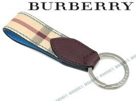 BURBERRYキーホルダーバーバリーメンズヘイマーケットチェック&ツートンレザーキーリングブルー×チェック柄4065213-BLUE