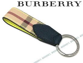 【人気モデル】BURBERRY キーホルダー バーバリー キーケース メンズ ヘイマーケットチェック&ツートンレザー キーリング イエロー×チェック柄 4065214-YELLOW ブランド