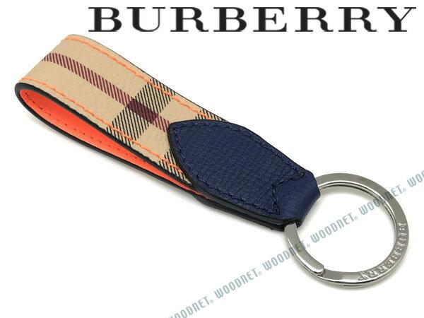 BURBERRY キーホルダー バーバリー メンズ ヘイマーケットチェック&ツートンレザー キーリング オレンジ×チェック柄 キーケース 4065215-ORANGE ブランド