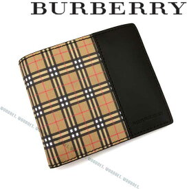 8026ad553b60 BURBERRY 財布 バーバリー メンズ&レディース 2つ折り 型押しレザー ブラック×チェック柄 4078054