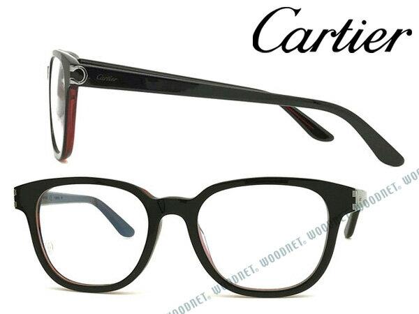 Cartier メガネフレーム カルティエ メンズ&レディース ブラック×クリアレッド 眼鏡 CT-0006OA-001 ブランド