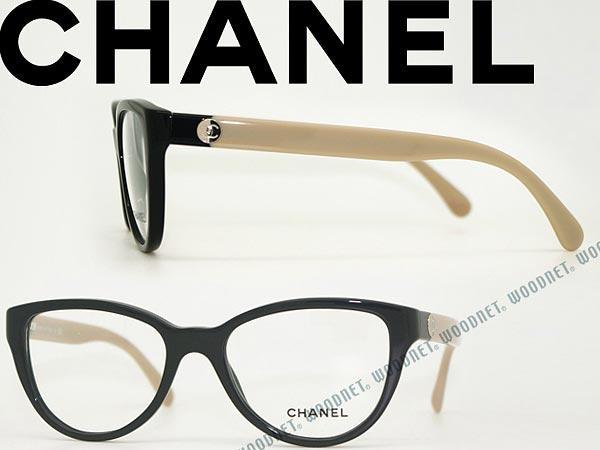 CHANEL シャネル メガネフレーム 眼鏡 めがね ブラック×グレーベージュ 0CH-3315-1333 ブランド/レディース/女性用/度付き・伊達・老眼鏡・カラー・パソコン用PCメガネレンズ交換対応