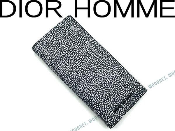DIOR HOMME ディオールオム 長財布 ブラック×ホワイト 型押しレザー 2つ折り小銭入れあり 2DSBC002-XSNH03E ブランド/メンズ/男性用