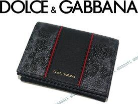 DOLCE&GABBANA 名刺入れ カードケース ドルチェ&ガッバーナ BP1643-AE741-8N779 ドルガバ 型押しレザー グレー×ブラック×レッド ブランド/メンズ/男性用