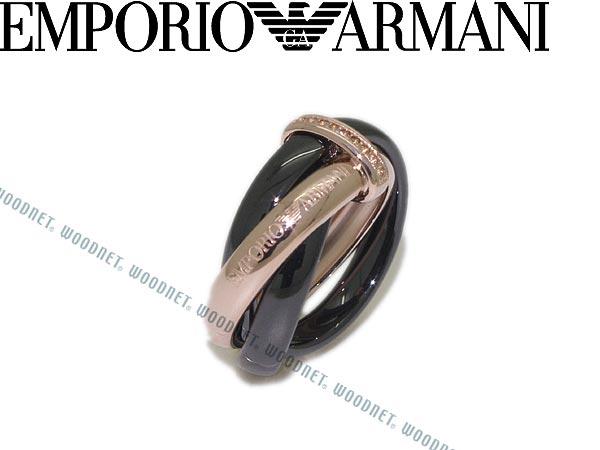 EMPORIO ARMANI ピンクゴールド×ブラック 3連リング・指輪 エンポリオアルマーニ アクセサリー EG3081221 ブランド/メンズ&レディース/男性用&女性用