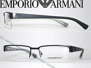 めがね エンポリオアルマーニ EMPORIO ARMANI メガネフレーム マットブラック ナイロール型 ハーフリム 眼鏡 EMP-EA-1006-3001 ブランド/メンズ&レディース/男性用&女性用/度付き・伊達・老眼鏡・カ