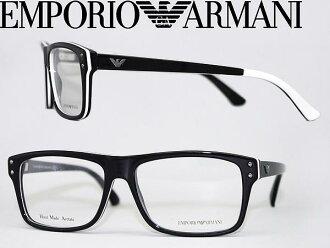 EMPORIO ARMANI 안경 블랙×화이트엔포리오아르마니메가네후레임 안경 EMP-EA-9866-HJ4 브랜드/맨즈&레이디스/남성용&여성용/도 첨부・다테・돋보기・칼라・PC용 PC안경 렌즈 교환 대응/렌즈 교환은 6,800엔~