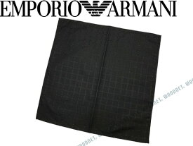 EMPORIO ARMANI ポケットチーフ エンポリオアルマーニ ロゴ柄 シルク グレーブラック 340033-7P615-00044 ブランド/メンズ/男性用