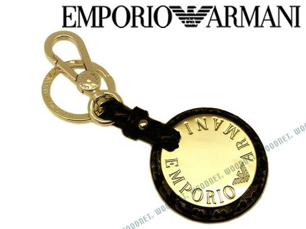 EMPORIO ARMANI キーホルダー エンポリオアルマーニ メンズ&レディース キーケース ブラック×ゴールド Y3H107-YH20A-80001 キーリング ブランド