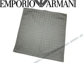 EMPORIO ARMANI ポケットチーフ エンポリオアルマーニ メンズ ロゴ柄 シルク グレー 340033-615-04443 ブランド