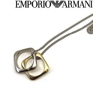 EMPORIO ARMANI ネックレス エンポリオアルマーニ メンズ&レディース マットシルバー×マットゴールド スクエア型リングチャーム EGS2709040 ブランド