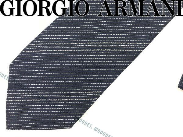 GIORGIO ARMANI ジョルジオアルマーニ ネクタイ ストライプ シルク ネイビー×シルバー 360087-7A921-00035 ブランド/メンズ/男性用