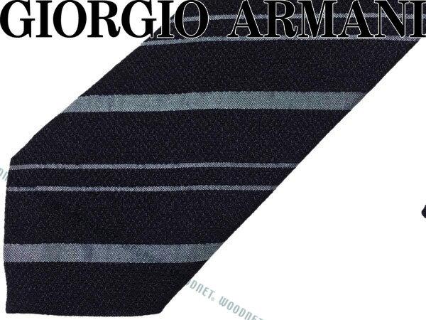 GIORGIO ARMANI ジョルジオアルマーニ ネクタイ ストライプ レーヨン×シルク ネイビー×ブルーグレー 360087-7A924-00035 ブランド/メンズ/男性用