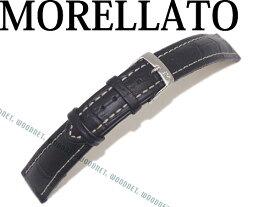 MORELLATO モレラ—ト プラス アリゲーター型押しカーフレザー ブラック 腕時計ベルト 牛革 時計 バンドU3252-PLUS-480-019 ブランド/メンズ&レディース/男性用&女性用