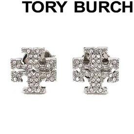 TORY BURCH ピアス トリーバーチ クリスタルロゴ シルバー 53423-042 ブランド