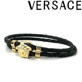 VERSACE ブレスレット ベルサーチ メンズ&レディース ブラック×ゴールド メドゥーサ ロゴ DG05579-DMTN-D41O