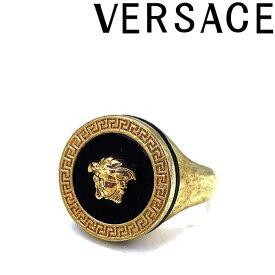 VERSACE リング・指輪 ベルサーチ メンズ&レディース メドゥーサロゴ リング・指輪 ヴィンテージゴールド×ブラック DG57285-DJMR-K41T ブランド