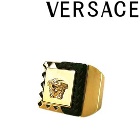 VERSACE リング・指輪 ベルサーチ メンズ&レディース ヴェルサーチ メドゥーサロゴロゴ ゴールド×ブラック アクセサリー DG57723-DJMR-D41OH ブランド