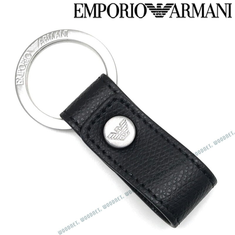 EMPORIO ARMANI キーホルダー エンポリオアルマーニ メンズ&レディース ブラック×マットシルバー キーケース キーリング Y4R172-YAQ2E-81072