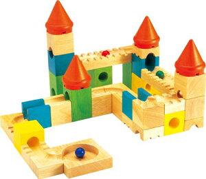 カラフルキャッスル(おしろの迷路A) 積み木 ビー玉 スカリーノ的なおもちゃ ピタゴラスイッチ 木製 人気 ブロック つみき 積木 おすすめ 玉の塔 木 おもちゃ 知育 誕生日 2歳 二才 2才 3才 3