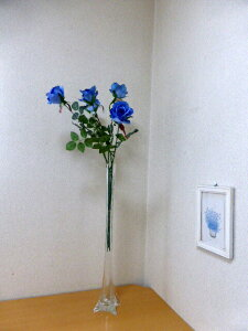 造花 【バラ5本組みセット】 ローズ 【ブルーローズ】【薔薇】【青いバラ】
