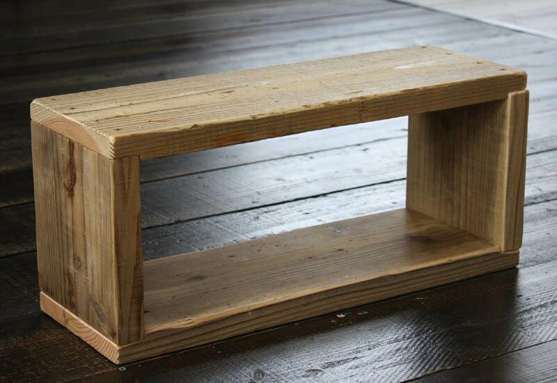 OLD ASHIBA(足場板古材)ラック長方形2型(1段) 無塗装幅600mm×高さ266mm×奥行195/205mm【木製ラック】【キューブボックス】 【小型商品】