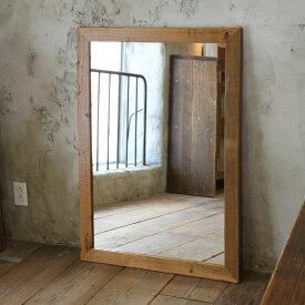 OLD ASHIBA(足場板古材)ミラー(鏡)A型 XLサイズ 塗装仕上げ1020mm×730mm【アンティーク風】[受注生産] 【大型商品】