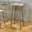 OLD ASHIBA(足場板古材)アイアンスツール角座240mmタイプ 高さ600mm 無塗装いす 椅子 ダイニング 玄関 スツール カ…