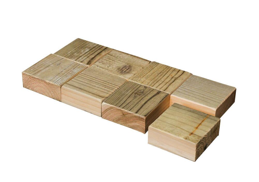 OLD ASHIBA(足場板古材)スクエア木っ端 無塗装【厚み35mmタイプ】35-1S(8個入り) 【小型商品】
